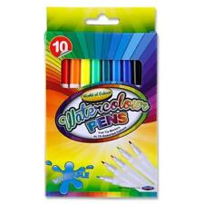 SET OF 10 WATERCOLOUR PENS FELT TIP WASHABLE MARKERS COLOURING DRAWING 10 ASSORT