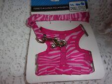 Pink Zebra Harness Leash S Ferret Rat new guinea pig dog cat Small Style
