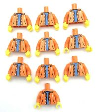 LEGO 10 NEW ORANGE MINIFIGURE TORSOS SWEATSHIRT WITH BUTTONS HOODIE BOY PIECES
