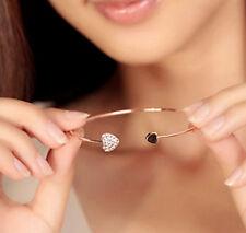 New Women Fashion Style Gold Rhinestone Love Heart Bangle Cuff Jewelry Bracelet