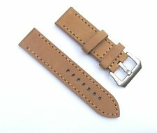 24mm Thick Heavy Duty Tan Light Brown Leather Watch Band with 2 Spring Bars
