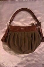 JAPANESE DESIGNER.HANAA-FUU PURSE GREEN/BROWN ZIPPERED