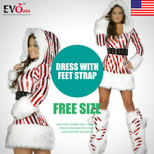 Women Adult Fancy Cosplay Dress Christmas Sexy Candy Cane Costume New