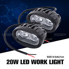 2x 20W Round XGODY LED Work Light Bar Spot Driving Lamp For Off-road Car SUV UTE