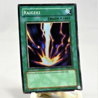 YuGiOh Raigeki LEGEND OF BLUE EYES Super Rare Holo Foil LOB-053 MINT/NM Free S/H