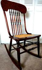 Armless Pressback Rocker Cane Seat Vintage Dark Finish Rocking Chair