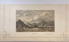 MALTA,isola litografia originale XIX secolo.W.J. COOKE