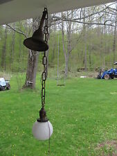 Antique BRYANT Ceiling Hall Light 3 ft. L Brass with Fancy Case Glass Shade