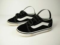 CHILD VANS UK 9 EU 26 BLACK WHITE SUEDE LEATHER TEXTILE TRAINERS LOW TOP SHOES
