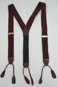 Vtg Polo Ralph Lauren Burgundy Green Men's Braces Suspenders