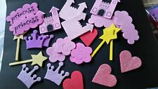 SELECTION OF FOAM STICKERS/TOPPERS -   GLITTER AND PLAIN PRINCESS _CASTLE -WANDS