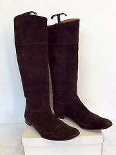 AUTHENTIC HERMES BROWN SUEDE KNEE LENGTH FLAT BOOTS SIZE 41 UK 7.5
