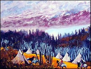 """Earl Biss """"High Mountain Camp"""" serigraph on Paper Hand Signed Hand Colored"""