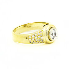 14k Yellow Gold White Sapphire Mens Ring Size 9