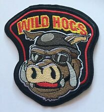 "WILD HOGS Thick Iron/Sew on Embroidered Patch Applique Badge 4"" x4"""