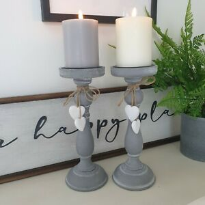 Grey Rustic Wooden Candlestick Heart Candle Holder French Country Shabby Chic