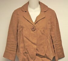 ELEVENSES from ANTHROPOLOGIE LINEN BROWN/TAN 1 BUTTON SWING JACKET  TOP SZ 2