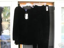 BLACK ROYAL VELOUR VELVET PANT SET  PRESTON & YORK  8 -  10 NEW