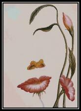 Face in Flowers - Cross Stitch Chart/Pattern/Design/XStitch