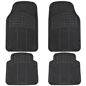 Car Rubber Floor Mats for All Weather Sedan SUV Truck 4 PC Set Trimmable Black