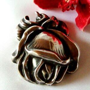 Großer Rosen Anhänger 800 Silber Rose old silver Pendant / dw 653