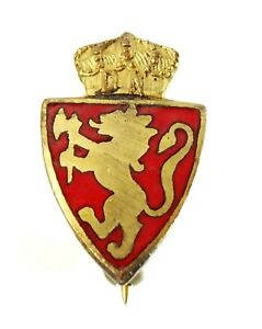 Coat of Arms of Norway Small Lapel Pin Vintage Red Enamel Lion Rampant Crown
