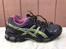 EUC ASICS Gel-Nimbus 14 Running Shoe Black Digital Neon Pink US 8 EUR 39.5 T291N
