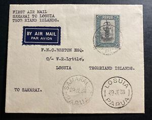 1938 Samarai Papua New Guinea First Flight Airmail Cover FFC To Losuia