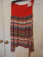 Womens tunic dress size 1x print orange Tube Top strapless geometric Cover-UP T9