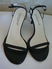 """AUTH CHARLES DAVID 3"""" HEEL  STILETTO LEATHER SANDALS PREOWNED BLACK SZ 8 1/2"""
