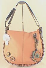 New Chala Hobo Crossbody Large Tote Bag BUTTERFLY Pleather PINK Convertible