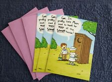 (3)Happy Easter Cards Kid Egg Hunt At Schmidt Outhouse Recycled Paper Greetings