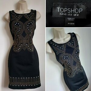 TOPSHOP Black Gold Bronze Studded Bodycon Mini Dress 12 Cocktail Party Evening