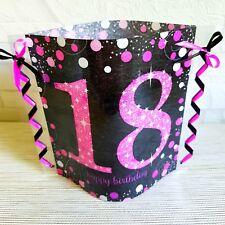 Tischdeko-Windlicht aus Servietten-18.GEBURTSTAG-Happy Birthday- pink/schwarz