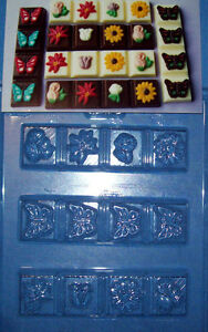 THREE BREAK APART BARS WITH FLOWERS OR BUTTERFLIES CHOCOLATE MOULD - EUC