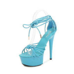 Sexy Lady Lace-Up High Heels High Waterproof Platform Pointed Toe Non-Slip Shoes