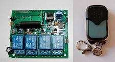 Telemando Emisor-receptor de 4 canales con enclavamiento selecionable.