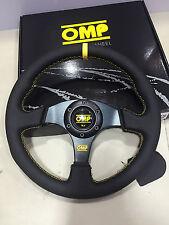 OMP 330mm Leather Flat Steering Wheel MOMO Racing Drifting Rally Yellow Strip