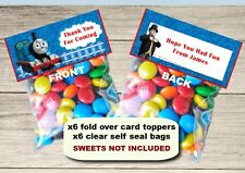 6 Personalised Thomas The Tank Fold Over Cards & Bag Birthday Party Favours