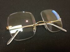 Snooker Spectacle Frame Rimless Gold Plated Extra Deep Large Lens Brand New