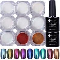 11Pcs Nail Glitter Mirror Powder Chrome Pigment Black White UV Gel Polish Kit