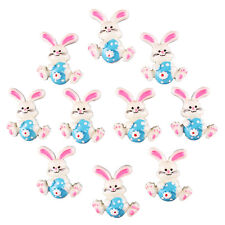 Bulk 10pcs Easter Bunny Rabbit with Blue Egg Resin Flatbacks Scrapbooking Crafts