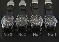 41mm Corgeut Sapphire Glass black dial Automatic Mens Watch Luminous Leather