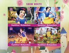 Madagascar 2018 estampillada sin montar o nunca montada Nieve Blanca 4 V IMPF m/s Disney Dibujos Animados sellos