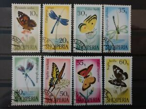 Albania 1966 Butterflies and Dragonflies.  8 stamp set CTO