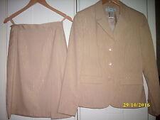 elegantes Twinset, 2-Teiler, Kostüm, Blazer & Rock, beige m. Goldfäden *WIE NEU*