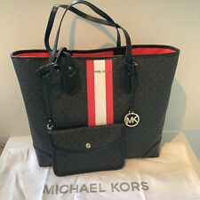 Michael Kors Large Black MK Print Leather Pink Stripe Tote Bag and Pouch