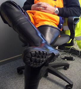 Ultra Rare New Dutch Military Bekina Black Rubber Hip Wader Boots US 13 EU 47
