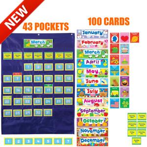 Custom Calendar Pocket Chart Teacher Classroom School Children Organize Wall Fun