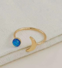 gold toe ring Moon opal glass